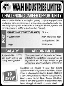 Marketing Executive jobs in Wah Industries Limited