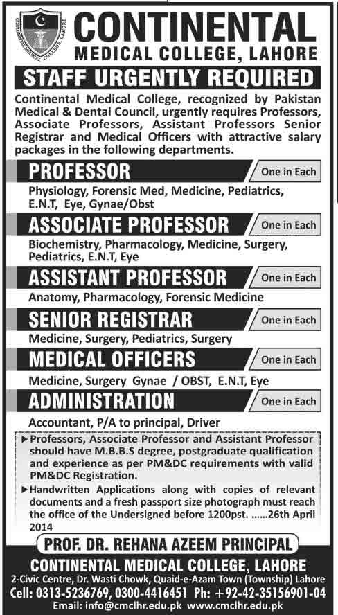 CMCLahore Jobs 2014 Jobs in Ghurki Trust Teaching Hospital Lahore