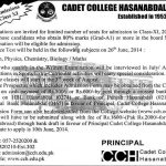 1st Year Admissions in Cadet College Hasan Abdal