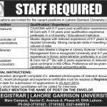 Lahore Garrison University Lahore Jobs April 2014