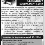 5th Convocation 2014 Dow University of Health Sciences Karachi