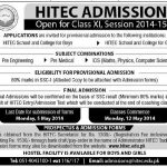 Heavy Industries Taxila Education City Admissions in 1st Year 2015