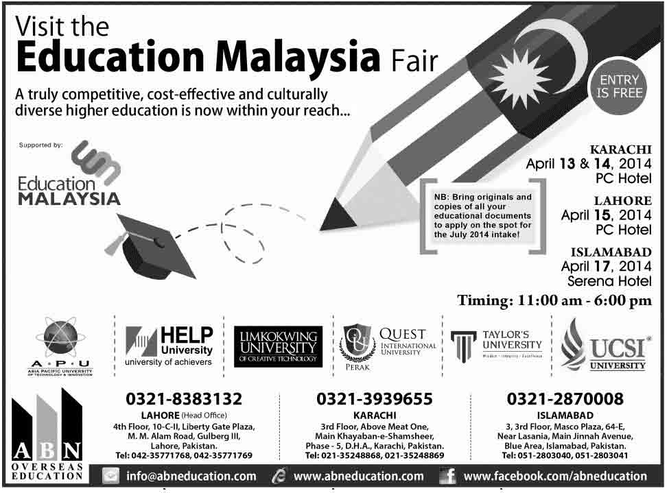 Education in Malaysia Fair in Karachi, Lahore, Islamabad April 2014