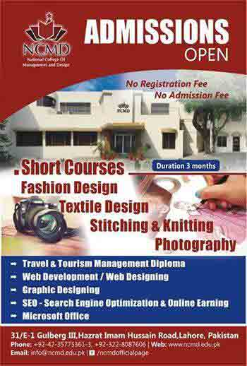 fashion and textile short courses admissions in ncmd