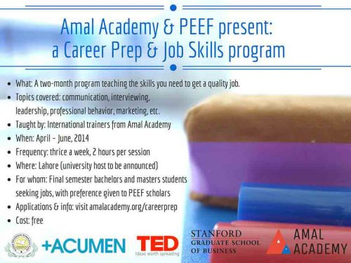 PEEF Admissions 2014 500x375 Amal Academy and PEEF Career Prep Job Skills Program Admission Open