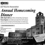 UCP Annual Homecoming Dinner 20th April 2014