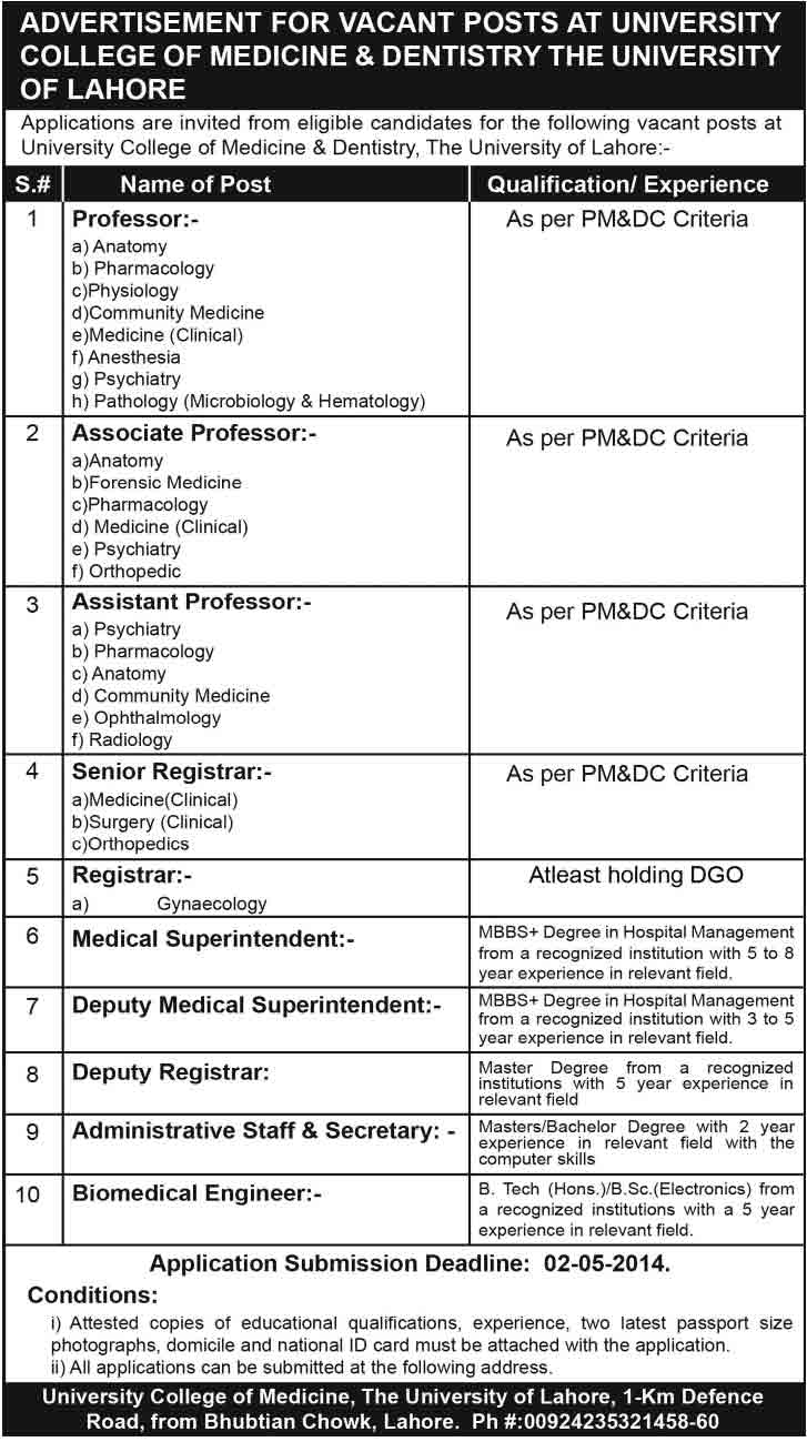 University Lahore Jobs 2014 Foundation University Islamabad Medical Faculty Required
