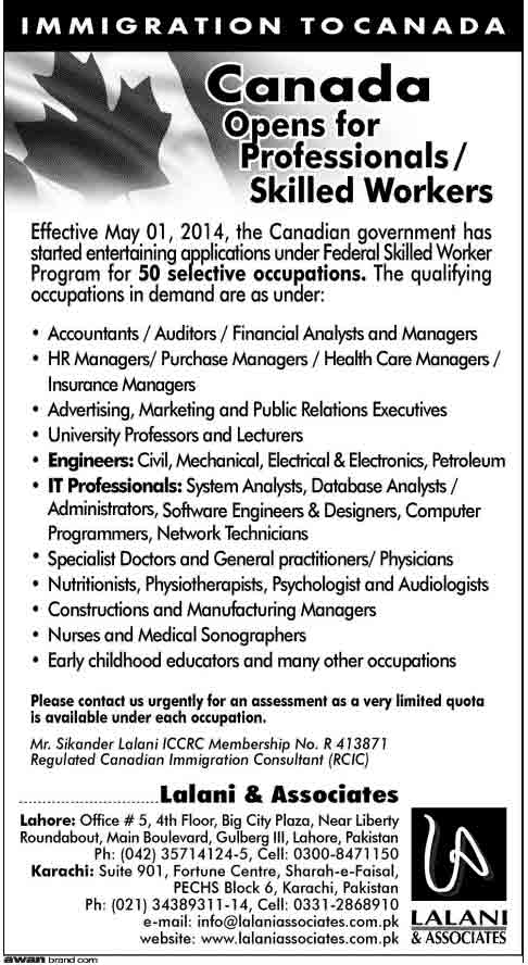 Canada Jobs for Pakistani 2017 Professional Skilled Workers