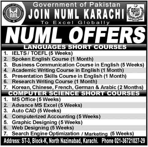 numl-karachi-course