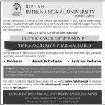 Teaching Jobs in Riphah International University Lahore Campus