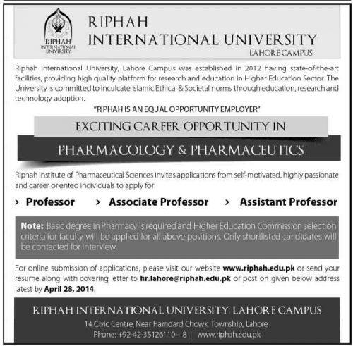 riphah-itnernational-university-jobs-april-2014