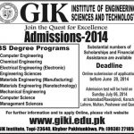 Admissions Open in GIK institute of Engineering Sciences and Technology