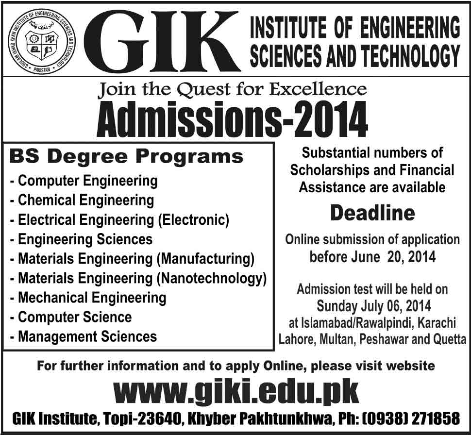 GIKI admissions 2014 Dawood College Of Engineering And Technology Admissions 2013