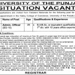 Admin Officer Jobs in Hailey College of Commerce Punjab University Lahore