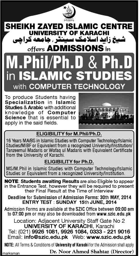 PhD Admission in Sheikh Zayed Islamic Center University of Karachi
