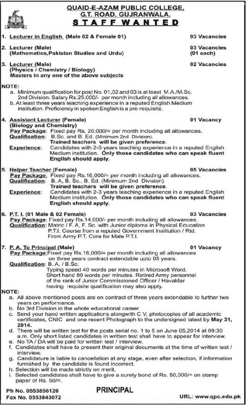 Teaching-Jobs-in-Quaid-e-azam-college-gujranwala