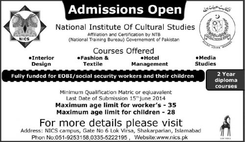 National Institute Of Cultural Studies Offered Courses 2020 Last Date
