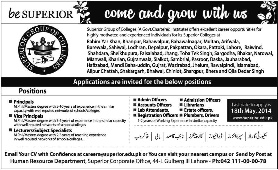superior Group of Colleges Jobs 2014 Educators Jobs 2014 In District Toba Tek Singh