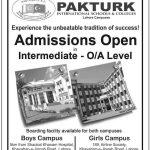 Admissions in PAKTURK International School & College Lahore