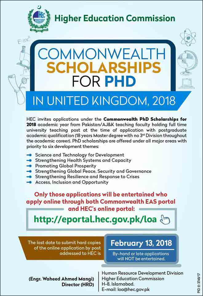 HEC Commonwealth Scholarships for PhD Doctoral Studies in UK Year 2018