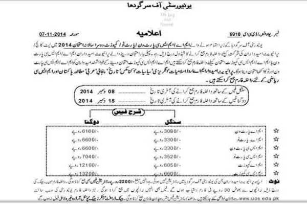 UOS Admissions 2015 e1416162468719 PU Admission BA/Bsc Annual Exams Forms & fee Schedule
