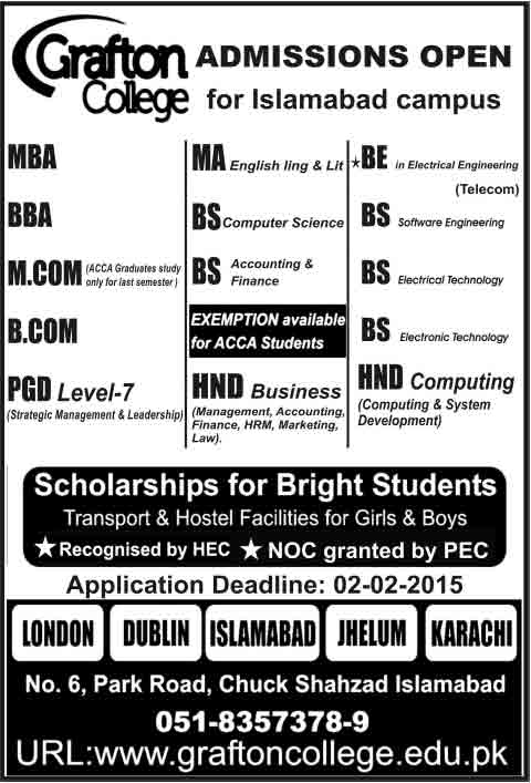 Grafton College Admissions in Islamabad Campus 2017