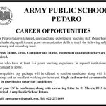 Army Public School Petaro Jobs for Teaching Staff