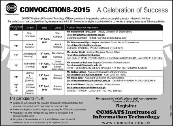 comsats Convocation 2015 Ceremony