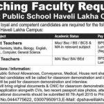 Teaching Jobs in District Public School Haveli Lakha Campus
