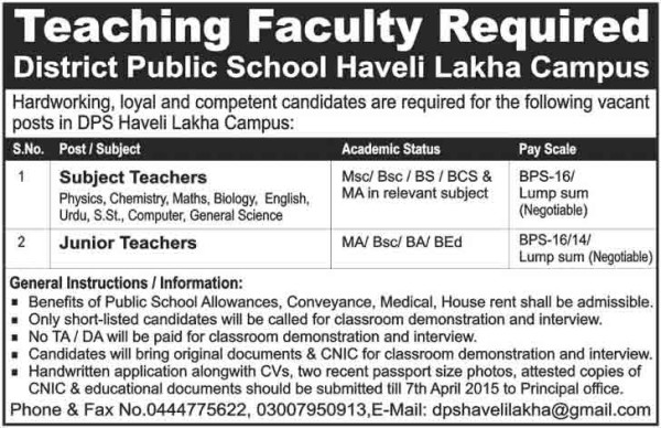 Teaching Jobs in District Public School Haveli Lakha Campus