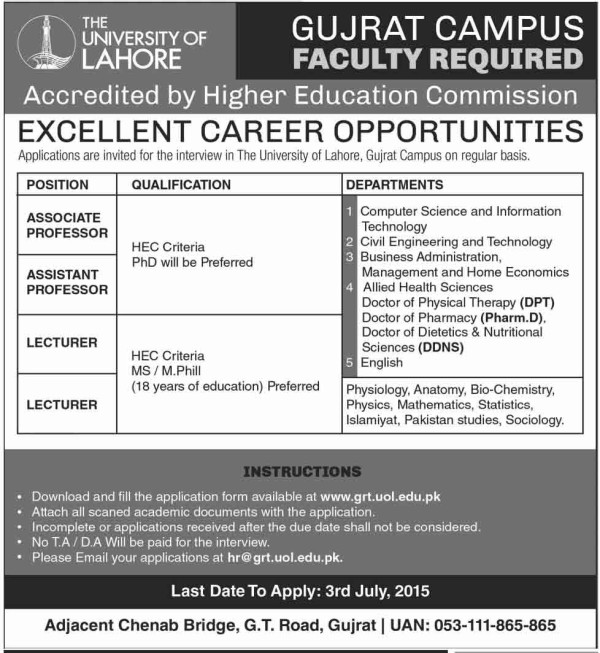 The University of Lahore Gujrat Campus Job Opportunities