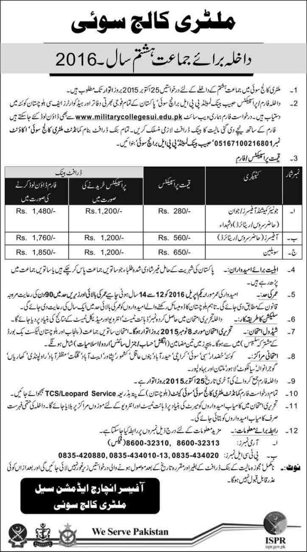 Military College Jhelum Admission 6th Class 2015 - | Ads of News Paper