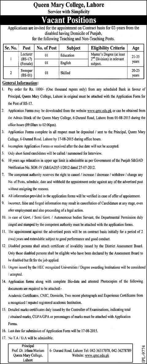 Queen Mary College Lahore Job Opportunities Career