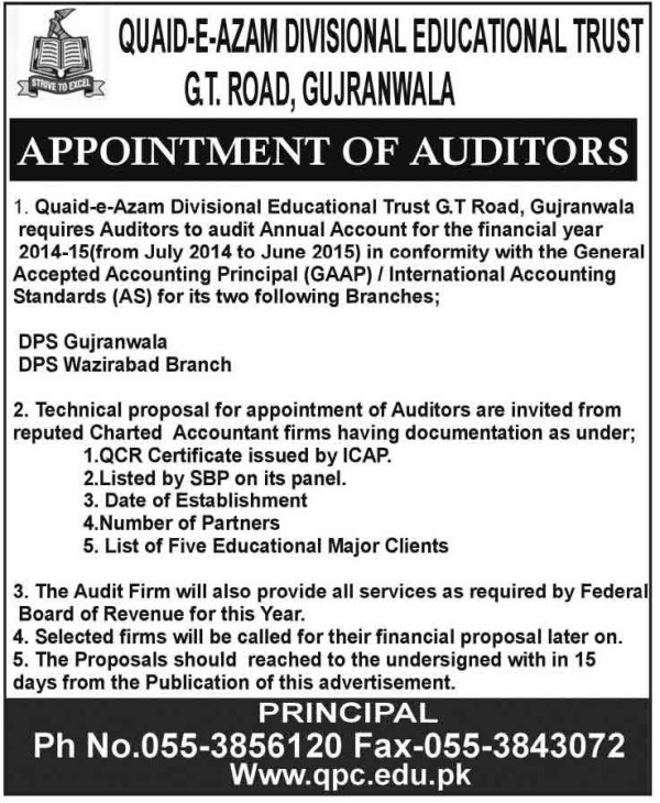 Quaid-E-Azam-College-Gujranwala-jobs