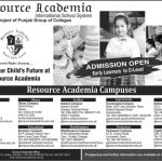 Resource Academia School Pakistan Admissions 2016 fee structure