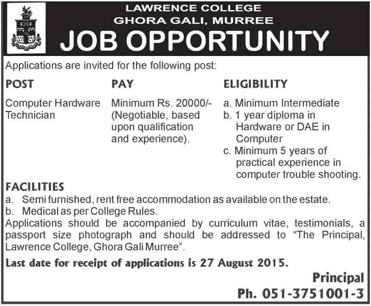 computer hardware technician jobs in lawrence college murree - Hardware Technician Jobs