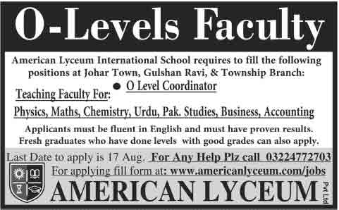 o-level-teaching-jobs