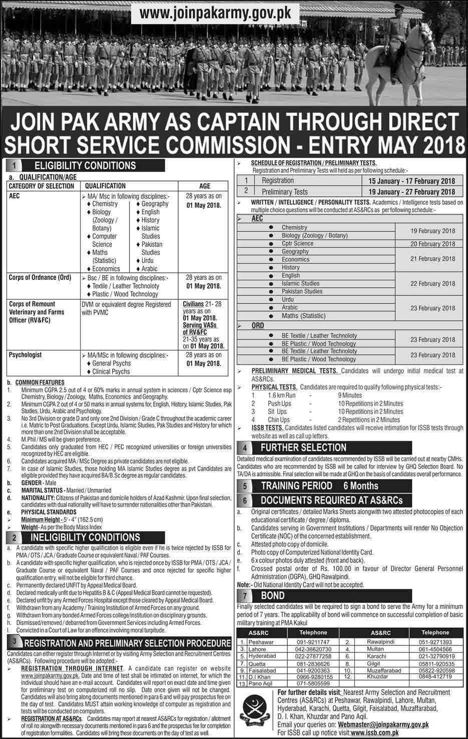 Join Pak Army as a Captain Through Short Service Course Entry May 2018
