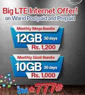 Warid Big LTE Internet Offer Free Nights