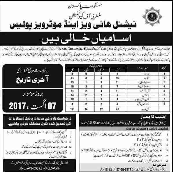 National Highways & Motorway Police Jobs 2017 PTS Application Form