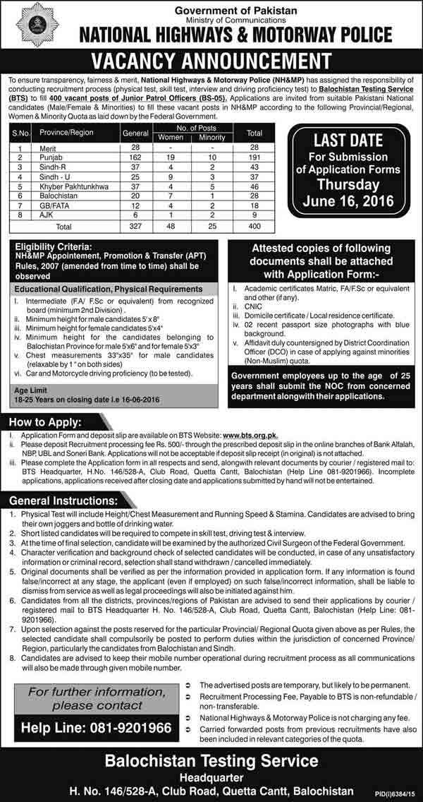 National Highways Authority & Motorway Police Jobs 2016 Application Form