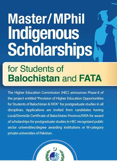 HEC Indigenous Scholarships 2017 for Balochistan and Fata Application Form