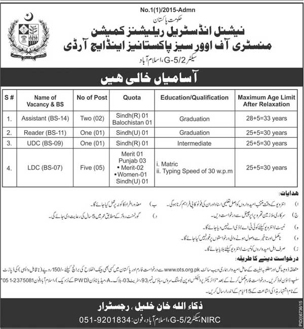 NIRC Islamabad Jobs 2016 Application Form Interview Test Date