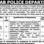 Social Media Content Writer & NLE Editor Jobs in Punjab Police Lahore