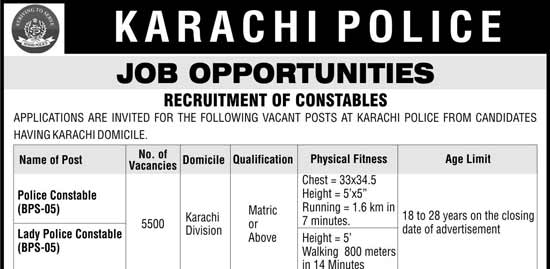 Karachi Police Constable Jobs 2017 Application NTS Test Result