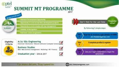 PTCL summit Management Trainee Program 2017 Online Registration