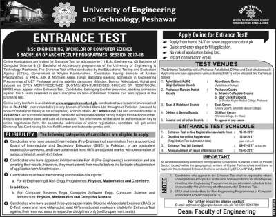 UET Peshawar Entry Test Date