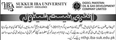 IBA Sukkur OGDCL Test Date Schedule 2017 National Talent Hunt Program