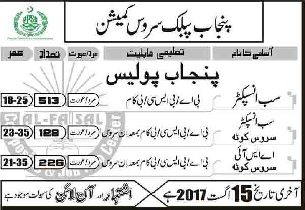 PPSC Sub Inspectors & ASI Jobs 2019 in Punjab Police Lahore