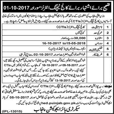College Teaching interns 2017 Jobs in Punjab Education Institutes
